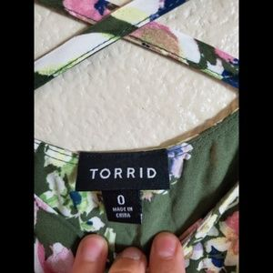 torrid Dresses - Torrid Green Floral Peasant Boho Ruffle Maxi Dress